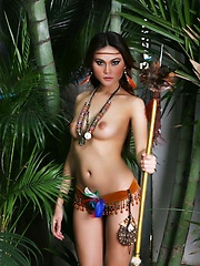 Asian girl Riyo in the jungle topless