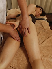 MAsseur touching japanese pussy