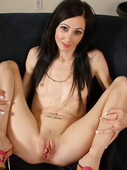 Lonely Jade pleasures her pussy with a giant vibrator