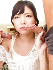 Megumi Shino Asian sucks two tools and is nailed in ass and twat