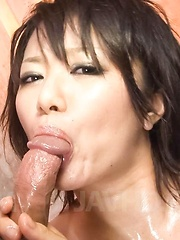 Haruka Uchiyama Asian is fondled with lotion before is screwed