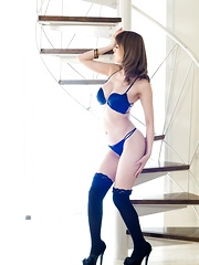 Yuria Asian moves so erotically on high heels and sexy lingerie