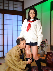 Arousing girl Rui Natsukawa sits on servant