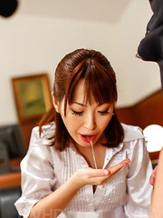Nonoka Kaede gets cum after stroking and sucking two shlongs
