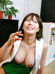 Karen Natsuhara has big cans touched with hard dicks and gets cum
